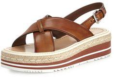 Prada Leather Crisscross Platform Sandal, Bruciato
