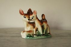 Vintage Bambi Deer Fawn and Larger Laying Down Mother Deer Fawn Ceramic Figurine Bambi, Woodland, Deer, 1950s, Larger, Hand Painted, China, Ceramics, Holiday