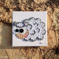 Gombíkový obraz - Ovečka Žofka