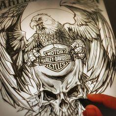 Harley Davidson Motorrad T-Shirt Designs bei Behance - Outlaw tattoo - bathrooms ideas Tatoo Harley Davidson, Harley Davidson Kunst, Harley Davidson Wallpaper, Classic Harley Davidson, Harley Davidson Motorcycles, T Shirt Designs, Tattoo Designs, Harley Tattoos, Biker Tattoos