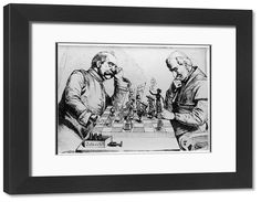 22x18 inch (580x480 mm) frame with high quality RA4 print and mount individually cut to size (other products available) - Between Berlin and Rome - Otto von Bismarck and Pope Leo XIII play a straegic game of chess. Cartoon from Kladderadatsch, 1875.  - Image supplied by Mary Evans Prints Online - #MediaStorehouse - made to order, bespoke, produced locally, delivered, guarenteed, artwork, library, imagery, expert, quick, safe, beautiful, choice, quality, photograph. art, framed, wall, UK…