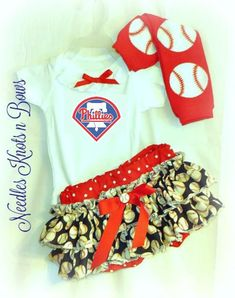 Philadelphia Phillies Girls Baseball Outfit, Baby Girls Coming Home Ou – Needles Knots n Bows