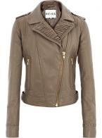Taupe leather biker jacket, £395, Reiss