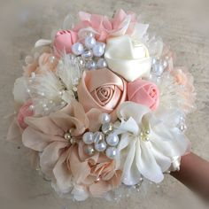 Romantic Fabric Flower Bouquet With Pearls  by PetalsAndStardust, $139.00