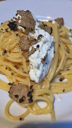 Spaghetti with black truffles and buffalo ricotta cheese
