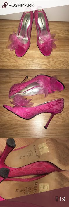 """BEBE hot pink silk heels BEBE brand open toe heel pump with lace detailing and organza style flower size 8 true to size 3"""" heel height bebe Shoes Heels"""
