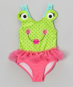 Another great find on #zulily! Green & Pink Froggie Skirted One-Piece - Infant, Toddler & Girls #zulilyfinds