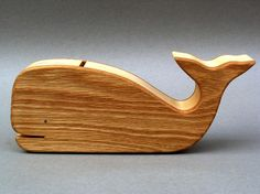 Whale Piggy Bank Wooden Animal Coin Bank for Baby Showers, Gifts for Children, Kids, Boys and Girls on Etsy, $19.75
