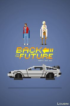 Pixel Art - The graphic objects in this minimalist Back to the Future movie poster are built from a modular grid of squares. The Future Movie, Back To The Future, Trauma, Science Fiction, Pixel Art Templates, 8 Bits, Minimal Movie Posters, Geek Art, Illustrations
