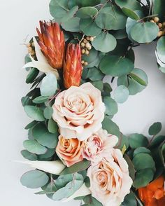 This gorgeous silver dollar eucalyptus wreath is accented with roses (try using sola roses if you make this yourself!) and protea repens.  These woody polished blooms are unique and colorful.  A show-stopping wreath for sure!   #driedflowers #driedplants #flowerlovers #homedecor #driedflowerdesign #floraldesign #flowerarrangement #diyhomedecor #diycrafts #flowers #flowers Fresh Wreath, Dried Flower Wreaths, Dried Flower Bouquet, Dried Flowers, Flower Bouquets, Altar Flowers, Sola Wood Flowers, Wedding Flowers, Drying Roses