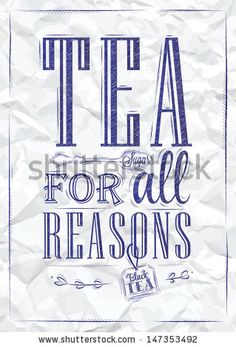Poster Tea For All Reasons In Retro Style Stylized Drawing Of A Blue Pen On A Crumpled Paper. Vector - 147353492 : Shutterstock