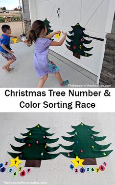Christmas Tree Number and Color Sorting Race - The Keeper of the Cheerios Christmas Ideas, Christmas Crafts, Christmas Tree, Color Race, Xmas Party, Gross Motor, Pedi, Childcare, Sorting