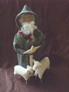 Primitive Folk Art Christmas Santa and Sheep E PATTERN by cheswickcompany Primitive Santa, Primitive Folk Art, Primitive Crafts, Country Primitive, Primitive Christmas, Handmade Christmas, Father Christmas, Xmas, Antique Christmas