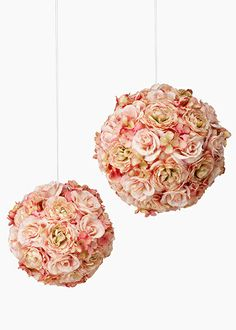 Pink Bronte Pomanders: Flower balls are great for decorating a wedding ceremony, church aisles, or sitting in bowls or urns as table centerpieces.