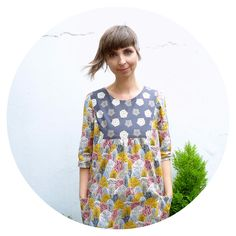 Anna Maria Horner Painted Portrait Dress in Eloise Renouf's Autumn Wonderland fabric