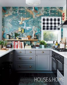 Fairytale-like Zoffany wallpaper steals the show in this Ikea kitchen makeover. Ikea Kitchen, Kitchen Dining, Kitchen Decor, Funky Kitchen, Eclectic Kitchen, Whimsical Kitchen, Eclectic Style, Kitchen Wall Paper Ideas, Colorful Kitchen Cabinets