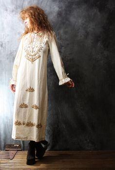 Vintage Dress 1970s Bohemian Hippie Cotton Beaded Dress Wood Beads Drawstring Ruffle Cuffs