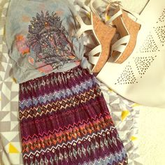 Bodycon Midi Skirt Tribal geometric print knit body con midi skirt Hot Kiss Skirts Midi