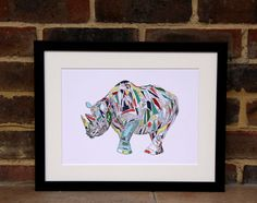 Rhino illustration Print by Hatched Art Hatch Art, Rhino Art, How To Draw Hands, Lion Sculpture, Wildlife, Illustrations, Statue, Art Prints, Unique Jewelry