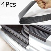 Wish | 4Pcs Universal Black Protector Sill Scuff Cover Car Door Plate Sticker 3D Carbon Fiber Anti Scratch