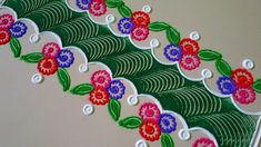 Very special flower type rangoli border design Rangoli Borders, Rangoli Border Designs, Rangoli Designs Diwali, Diwali Rangoli, Rangoli Designs Images, Step By Step Painting, Painting Steps, Small Rangoli Design, Simple Borders