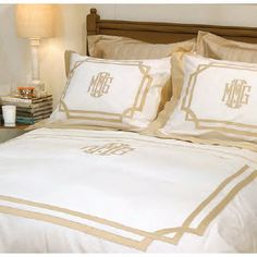 Matouk Salon collection is one of our favorite lines from MAtouk. Creat a one of a kind beautiful bedding using our custom tapes for appliques and trims. need help choosing your bedding www.thepinkmonogram.com