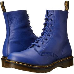 Dr. Martens Pascal Women's Lace-up Boots ($90) ❤ liked on Polyvore featuring shoes, boots, blue, ankle boots, lace up boots, blue bootie, lacing boots and short lace up boots