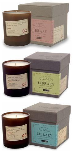 Holy crap these are awesome! I want one! Library candles: The scent is matched to each author. Jane Austin is a blend of florals, Poe's candle combine cardamon with absinthe and sandal wood, and Thoreau is woodsy scents like cedar and juniper. They even have a Dickens candle that sounds perfect for the holidays!.