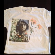 Jim Morrison  headstone tee! Screened on American Apparel tee unisex s,m,l crew or v neck with hand designed flowers American Apparel Tops Tees - Short Sleeve