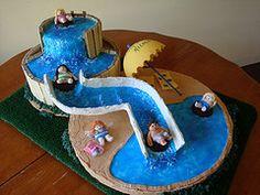 Water Slide Cake by artist/designer Barbara K. Balkin, owner of Artkin. myartkin.com Pool Birthday Cakes, 12th Birthday Cake, Pool Party Cakes, Pool Cake, Birthday Cake Girls, Birthday Ideas, Kids Party Treats, Swimming Cake, Penguin Cakes
