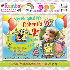 185 DIY Spongebob Party Invitation Or Thank by LilRbwKreations