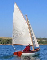Gaff rigged dinghy - Available in a variety of woods (see the 8' clinker dinghy for details - traditional-sail.uk