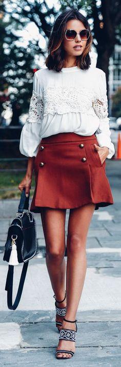 Rust Button Skirt Fall Inspo by Vivaluxury
