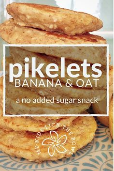 Banana Oat Pikelets An Easy No Added Sugar Free Snack, Breakfast And Lunch Box Filler Great Baby Led Weaning Option My Kids Lick The Bowl 2016 Baby Food Recipes, Gourmet Recipes, Cooking Recipes, Cooking Rice, Sugar Free Snacks, Sugar Free Recipes Easy, Easy To Make Snacks, Healthy Snacks, Healthy Recipes