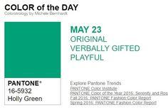 …y el color de hoy es Verde Acebo, un color original, verbalmente dotado, juguetón. Más info en http://www.pyma.com/tutoriales-y-trucos/y-los-colores-pantone-de-esta-semana-sonsemana-del-23-al-29-de-mayo/
