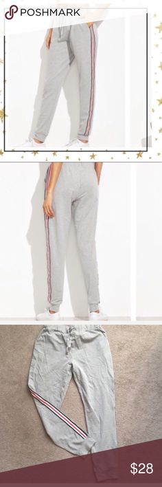 Grey Jersey Pants (SR12G16V) New, never worn. Side stripe. 95% Rayon, 5% spandex. Pants Track Pants & Joggers