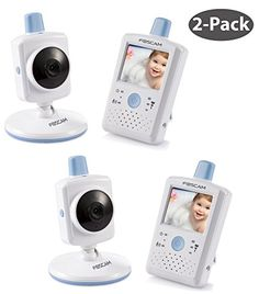 "Foscam FBM2307 Digital Video Baby Monitor (2-Pack) - Night Vision, 2.4"" Touchscreen LCD, VOX Video Toggle, Night Light Function, Rechargeable Battery, 2.4 Ghz Wireless (White/Blue) - $199.99"