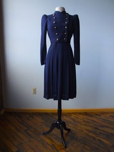 Military-Style Suits | ... 1940s 3 Piece Suit Dress Cropped MILITARY Style Jacket POLKA Dot Shirt