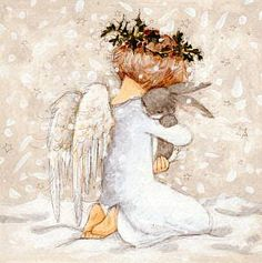 Annabel Spenceley - Angel And Bunny Christmas Angels, Christmas Art, Vintage Christmas, Angel Drawing, Watercolor Christmas Cards, Pintura Country, Angel Pictures, Angels Among Us, Guache