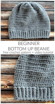 Crochet Hats 99921 Bottom Up Beanie Crochet Pattern - My favorite beanies are always the ones made from the bottom up. The Beginner Bottom Up Beanie Crochet Pattern is a simple pattern with a video tutorial so any level crocheter can make this style hat. Beanie Pattern Free, Crochet Beanie Pattern, Crochet Beanie Hat Free Pattern, Easy Crochet Hat Patterns, Crochet Hat For Beginners, Crochet For Boys, Boy Crochet Hats, Crochet Beanies For Men, Crochet Baby Beanie