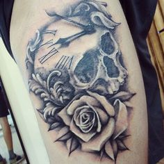 Instagram media by kacjusz - #skull #skulltattoo #rose #rosetattoo…