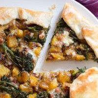butternut squash, broccolini and pancetta galette with fontina