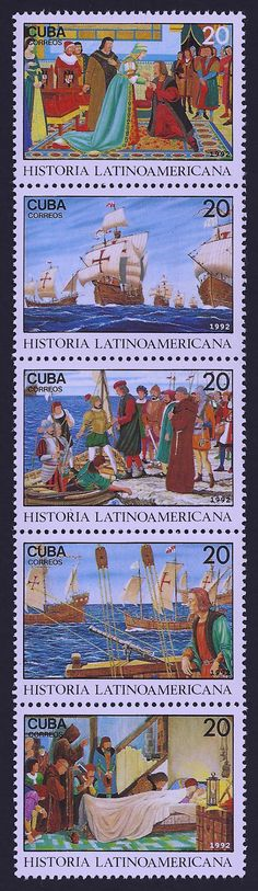 Cuba Scott #3466 a-e (3 Oct 1992) Strip of 5, a. Ferdinand and Isabella welcome Columbus, b. Fleet on Columbus' third voyage, c. Columbus deported from Hispaniola to Spain as prisoner, d. Columbus on ship of fourth voyage, e. Death of Columbus, May 20, 1506.