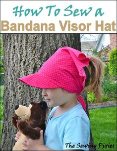 Easy to sew Bandana Visor Hat with free pattern. Sun Visor Hat, Visor Hats, Hat Patterns To Sew, Sewing Patterns Free, Free Pattern, Purse Patterns, Bandana, Toddler Sun Hat, Hat Tutorial