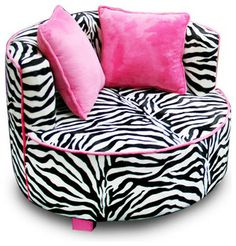 Fun Cool Funky Bedroom Ideas for Teen Girls : Hot Pink Zebra Striped Chair, this would so match my room perfectly! Funky Bedroom, Dream Bedroom, Girls Bedroom, Bedroom Decor, Bedroom Ideas, Zebra Bedrooms, Pink Zebra Rooms, Zebra Nursery, Daughters Room