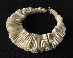 ruffle collar, ruffle neckpiece,  textile necklace, natural color, ruffle fashion, designer necklace, sculptural jewelry, summer fashion. $70.00, via Etsy.