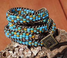 Turquoise Mix Seed Bead Leather 4X Wrap Bracelet