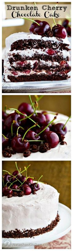 Drunken Cherry Cake by nastashaskitchen: Moist, chocolatey, boozy, and cherry-licious! #Cake #Cherry