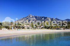 Suoerb view of La Concha overlooking Marbella. the quiet beach near Puerto Banus