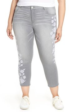 209c50bb5 Wit   Wisdom Embroidered High Waist Ankle Slim Jeans (Plus Size) (Nordstrom  Exclusive)